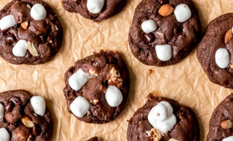 Chocolate Marshmallow Almond Rocky Road Cookies